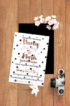#rosegold #modern #polkadot #wedding #invitation #invite Rose Gold Invitation…