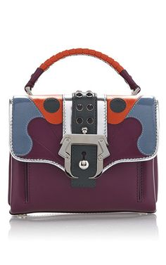 Burgundy calf leather dun dun intarsia bag by PAULA CADEMARTORI Now Available on Moda Operandi