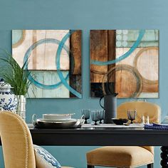 Blue and brown circles modern abstract oil painting canvas wall art free shipping decorative artist for home office