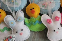 closeup of felt Easter ornaments.  More pictures on the Notesongs blog.