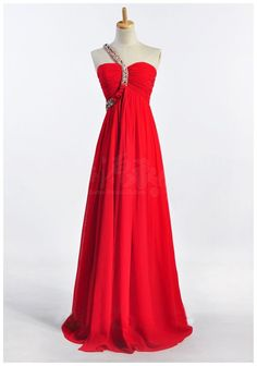 One-shoulder Crystal Chiffon Prom Dress