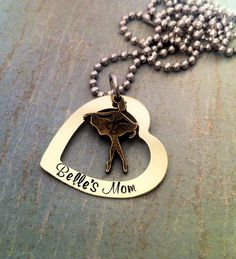 SALE Personalized Hand stamped dance mom necklace, gift for mom, ballet necklace, dance jewelry