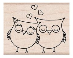 Shop for Hero Arts Heart Owls Wood Mounted Rubber Stamp . Get free delivery On EVERYTHING* Overstock - Your Online Scrapbooking Shop! Embroidery Patterns, Hand Embroidery, Owl Patterns, Tampon Scrapbooking, Owl Crafts, Paper Crafts, Hero Arts, Easy Drawings, Rock Art
