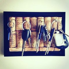 Diy cork board key hanger