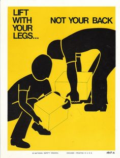 Items similar to Vintage National Safety Poster - Lift With Your Legs Not Your Back on Etsy