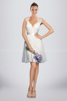 Romantic White Tulle Bridesmaid Dress Holding Illusion Lace Back.  MOH dress (in navy).