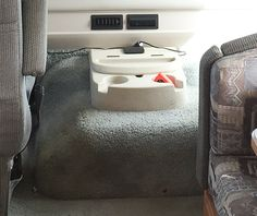 """Question: When laying new flooring in your RV, how have you dealt with the """"Doghouse"""" in your rig? Dog Houses, Kettle, Rv, Kitchen Appliances, Flooring, Diy Kitchen Appliances, Tea Pot, Motorhome, Home Appliances"""