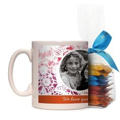 Floral Frame Mug, White, with Ghirardelli Minis, 11 oz, Orange