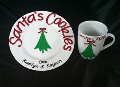Personalized Santa's Cookies Plate and Mug by Shann50952 on Etsy, $25.00