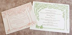 Outdoor and under the trees letterpress wedding invitations.