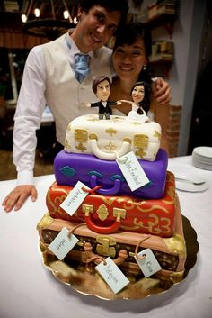 wedding cake - travel theme