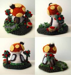 Crochet toadstool house..Wish I had the pattern.....