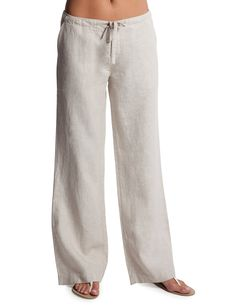 Find island bliss in Island Company Camel Relaxed Linen Pants.  These camel pants serve as great beach pants!