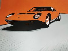 Lamborghini Miura made with acrylic paint and markers