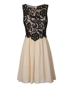 Look at this London Dress Company Cream & Black Ella Dress on #zulily today!