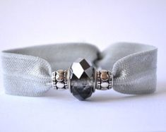 Elastic hair tie in grey with 3 charms. No crease hair ties yoga hair ties beaded hair tie hair bling stocking stuffer gift for her No Crease Hair Ties, Yoga Hair, Silver Grey Hair, Elastic Hair Ties, Memory Wire Bracelets, Hair Beads, Stocking Stuffers, Gifts For Her, Hair Accessories