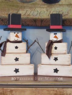Wood block snowmen