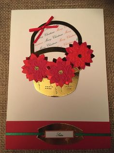 """Xmas Card - Basket and Poinsettia """"Godparents"""" red green Handmade Handcrafted Merry Christmas Greetings by ASCraftyCreaters on Etsy Card Basket, Merry Christmas Greetings, Poinsettia, Red Green, Christmas Cards, Symbols, Unique Jewelry, Handmade Gifts, Beautiful"""