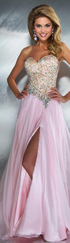 Mac Duggal couture dress ice / pink / nude #strapless #long #formal #dress MAC DUGGAL PROM  STYLE 81838M