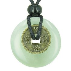 Buy Antique Lucky Coin Evil Eye Protection Powers Amulet Green Jade Gemstone Donut Pendant Necklace at Wish - Shopping Made Fun Jade Necklace, Jade Jewelry, Coin Jewelry, Pendant Necklace, Necklace Ideas, Jewellery, Leather Jewelry, Gemstone Jewelry, Good Luck Symbols