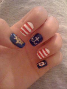 Navy Nail Art Navy Nail Art, Navy Nails, Great Nails, Nail Tech, Manicure And Pedicure, Nail Designs, Design Inspiration, Makeup, Hair