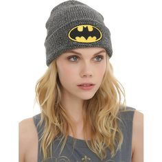 DC Comics Batman Logo Marled Grey Watchman Beanie Hot Topic ($3.50) ❤ liked on Polyvore featuring accessories, hats, embroidered beanie hats, grey beanie, embroidery hats, gray beanie and logo beanie hats