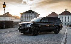 Download wallpapers Cadillac Escalade, 2018, exterior, photoshoot, black Escalade, luxury SUV, black wheels, American cars, Cadillac