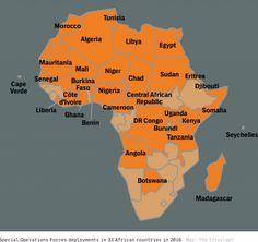 Map of African countries where U.S Special Operations Command were deployed in 2016.