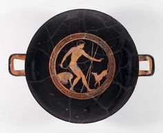 Drinking cup (kylix) depicting an athlete cleaning up and his dog about 480 B.C. the Brygos Painter Greek Athletes | Museum of Fine Arts, Boston