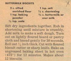 Retro Recipes 1950S   Vintage Buttermilk Biscuits Recipe – Clipping   RecipeCurio.com