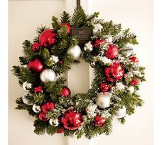 Outdoor Ornament Pine Wreath - Red/Silver #potterybarn