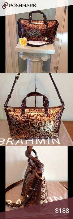 "Brahmin Mini Asher in Bronze Gatsby EUC  Gorgeous Brahmin Mini Asher in Bronze Gatsby !  This Chic Crossbody / Shoulder bag in a beautiful Damask pattern with the outline of swirls & flowers in Brown. Trimmed in Dark brown smooth Vachetta leather ! Very unique ! Used a couple of times with no visible signs of  wear !  Adjustable handles & strap ! Strap drop is 12-24"" . Front is accented with Brahmin plaque & hanging medal. Open pocket on the back , gold tone hardware , footed bottom…"