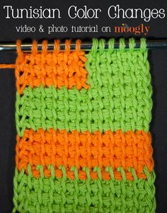 Tunisian Color Changes - learn 3 methods on Moogly! ♡ Teresa Restegui http://www.pinterest.com/teretegui/ ♡
