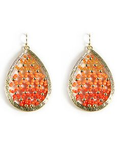 Love this Gold & Orange Bead Teardrop Earrings by MOA International Corp on #zulily! #zulilyfinds