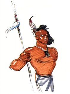 Pocahontas A concept for a member of Powhatan's tribe - maybe Kocuum? Source: Pocahontas special edition DVD #disneyconceptart #disney