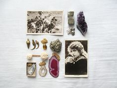 A #Collection of beautiful things. #Antique @Postcards #Amethyst