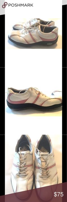 Ecco golf shoes women's 10/40 pink and white Women's Ecco golf shoes size 10, white and pink leather, instep support and shock absorption Ecco Shoes Athletic Shoes