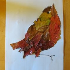Nice autumn activity - using autumn leaves as the feathers