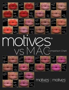If you use various brands of makeup, why not give Motives a try. It's 100% mineral-based and, therefore, better for your skin. They also contain vitamins and antioxidants! Here's a colour comparison chart with MAC. Get these lip colours and more at ca.SHOP.COM/sfernandes