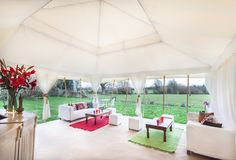 6m x 6m Mini Pearl tent looking out...