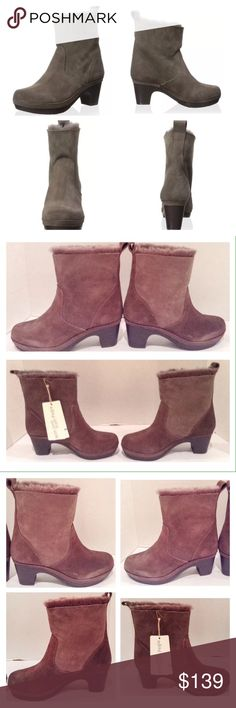 """Pegia Koyu Suede Ankle Boot Pegia Koyu vizon suede and dyed sheep fur clog ankle boot.  Size 8 medium.  Size 38 EU.  New with box.  A plush lining lends added coziness to this versatile pull on boot.  Heel:  3""""; platform:  1""""; shaft height from arch:  8.5""""; boot opening:  12"""".  No trades. Pegia Shoes Ankle Boots & Booties"""