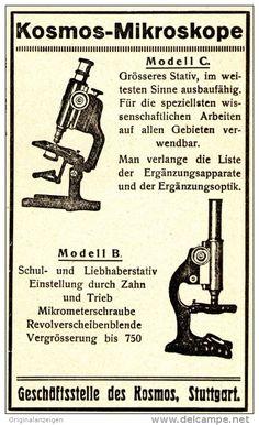 Original-Werbung/ Anzeige 1922 - KOSMOS MIKROSKOP - ca. 60 x 110 mm