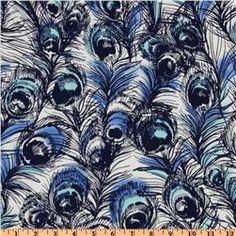 Lanikai Peacock Feathers Canvas Blue - Discount Designer Fabric - Fabric.com