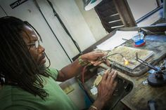 Whealan, our master jewelry artisan, crafting an infinity bracelet #behindthescenes #ibeverday   Photo credit: Nicole Canegata