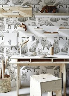 Cunny Foxes - a removable wallpaper, white wall mural Reusable fabric. Tropical Vibes, Tropical Decor, Solid Surface, Fantastic Wallpapers, Washable Paint, Types Of Painting, Peel And Stick Wallpaper, White Wallpaper, Wallpaper Wallpapers