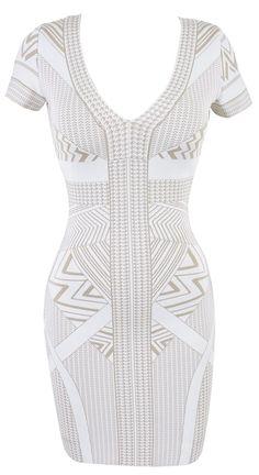 'Polly' White & Beige Geometric Print Capsleeve Bandage Dress