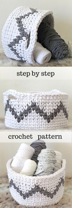 Crochet Basket Pattern for Chevron Home Decor! Zig Zag baskets are so modern and go with everything! This pattern is for Int-Advanced crocheters who want to do Tapestry crochet. Click to view!