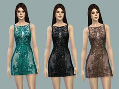 Found in TSR Category 'Sims 4 Female Everyday' Sims 4 Tsr, Lace Dress, Sequins, Female, Formal Dresses, Clothes, Fashion, Dresses For Formal, Outfits