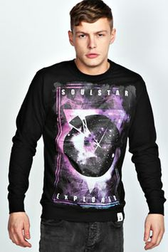 Cosmic Graphic Printed Sweater at boohoo.com