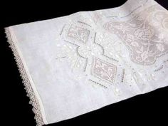 Vintage Italian Linen Embroidered Filet Lace Pillow Sham Collectors